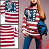 Ladies Red White Boat Neck Pullover Stripes Hearts Novelty Patter...