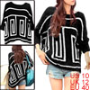 Ladies Black Batwing Sleeves Casual Pullover Stretchy Loose Sweater M