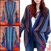 Ladies Navy Blue Gray Batwing Sleeves Novelty Prints Casual Cardi...