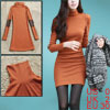 Ladies Orange Bracelet Sleeves Ribbing Detail Casual Mini Dress X...