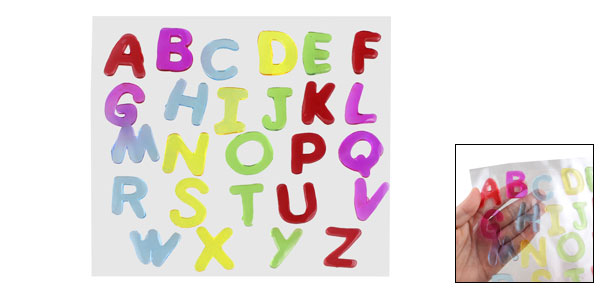 26 Pcs Assorted Color Alphabet Letters Design Glass Window Sticker Decals