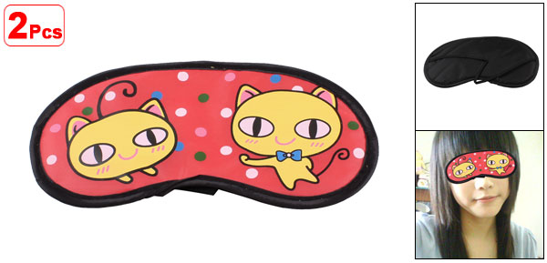 2 Pcs Cartoon Cat Dots Pattern Red Yellow Sleeping Eye Mask Cover Eyeshade Blindfold