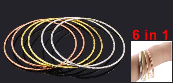 Ladies Girls 6 in 1 Assorted Color Metal Loop Circle Bracelet Bangle