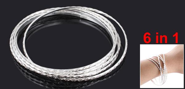 Lady 6 in 1 Multi Layer Silver Tone Metal Loop Circle Bracelet Bangle