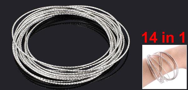 Lady 14 in 1 Multi Layer Silver Tone Metal Glitter Loop Bracelet Bangle