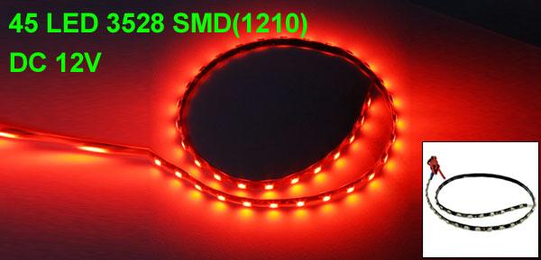 Auto Car Red 1210 3528 45-SMD LED Light Flexible Lamp Strip 45cm