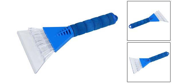 Blue Foam Coated Handle Clear Plastic Blade Car Cleaning Ice Snow Scraper