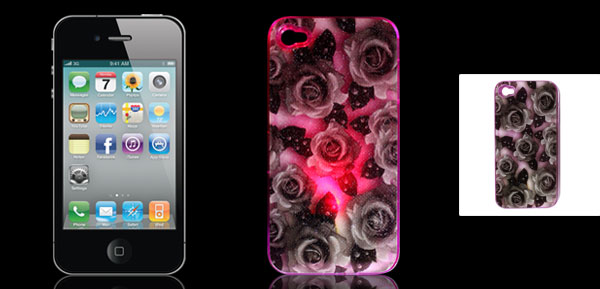 Gray Rose Pattern Sense Flash Light LED Color Changed Hard Back Case Cover for iPhone 4 4G 4S 4GS