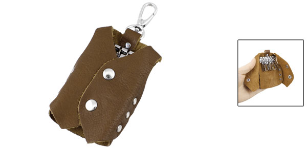 Brown Sleeveless Jacket Design Faux Leather Keychain Key Bag Case Holder