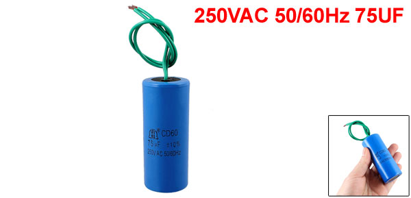 CD60 Polypropylene Film Motor Run Capacitor 250VAC 50/60Hz 75UF