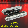 2 Pcs Red 12 LED Car DRL Daytime Running Light Lamp w Bracket