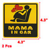 2 Pcs Adhesive Yellow Black Vinyl Mama in Car Safety Sign Sticker