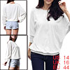 Ladies White Long Dolman Sleeve Mesh Decor Stretchy Autumn Casual...