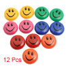 12 Pcs Multicolor 30mm Round Plastic Shell Smiling Face Fridge Ma...