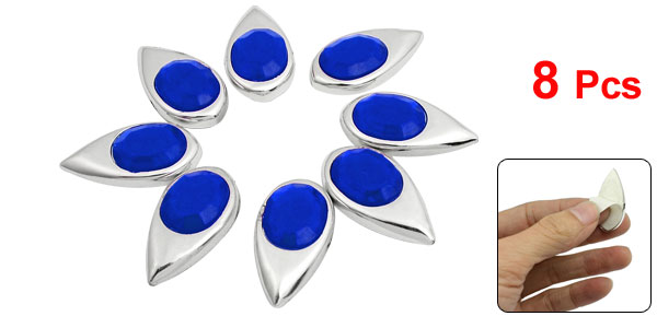 8 Pcs Car Window Mirror Wall Blue Rhinestone Silver Tone Metal 3D Sticker