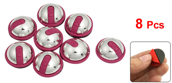 8 Pcs Car Window Mirror Silver Tone Fuchsia Round Plastic 3D Sticker