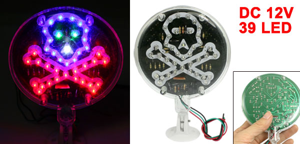 Round Case Ghost Head Pattern Colorful Flashing 39 LED Light Car Moga Lamp