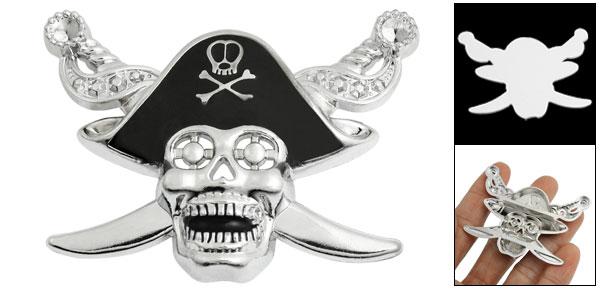 Silver Tone Black Skull Head Pattern Car Badge Sticker Emblem Decor