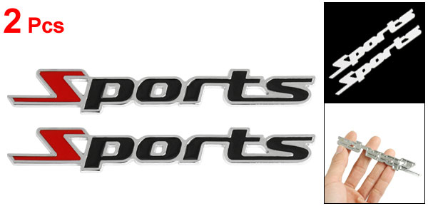 2 Pcs Black Red Metal Sports Letters Car Badge Sticker Emblem Decor