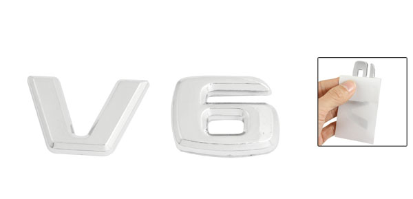 Silver Tone Metal V6 Pattern Car Badge Sticker Emblem Decor