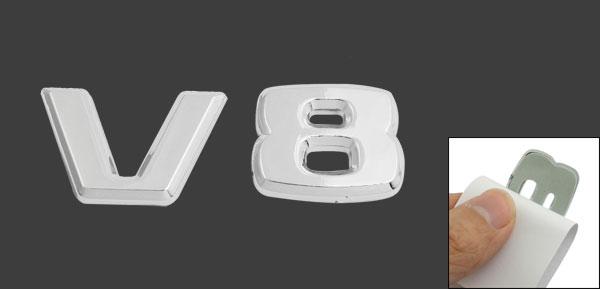 Silver Tone Plastic V8 Pattern Car Badge Sticker Emblem Decor
