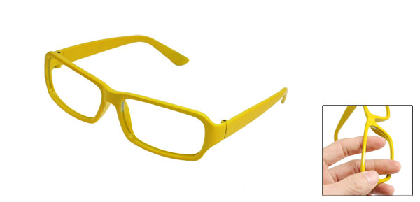 Plastic Rectangular Yellow Eyewearing Glasses Frame for Ladies