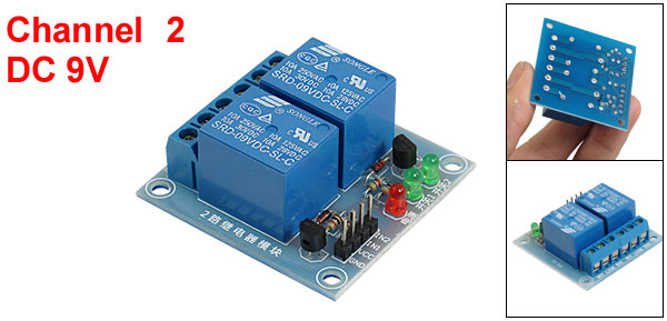 High Level Trigger Two Channel Relay Module 9V DC