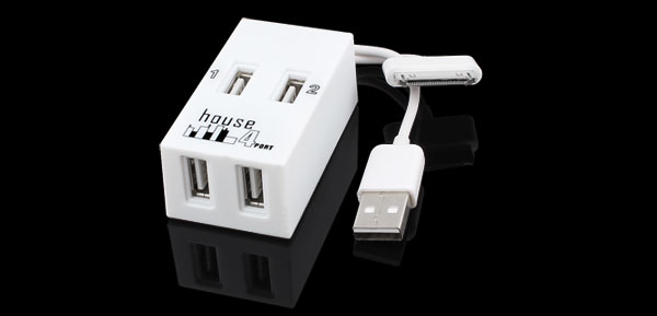 White 4 Ports High-Speed USB 2.0 Hub Splitter Adapter for iPhone 4 4G 4S 4GS