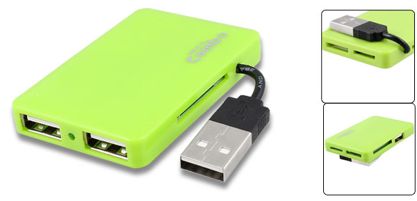 Lime Green 3 Ports USB 2.0 Hub Micro SD TF MMC M2 MS Card Reader Combo Writer