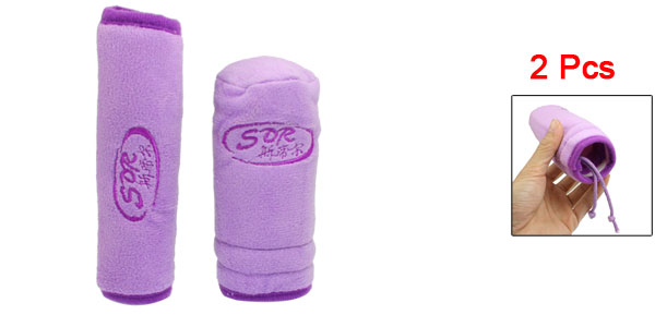 2 Pcs Soft Plush Car Handbrake Gear Shift Knob Cover Pad Sleeve Purple
