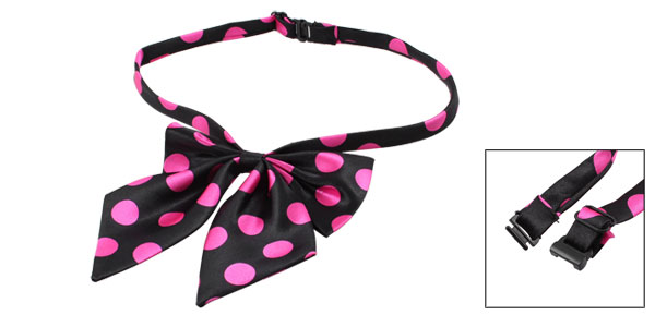 Magenta Black Dots Pattern Bowknot Halter Neck Bow Tie for Lady