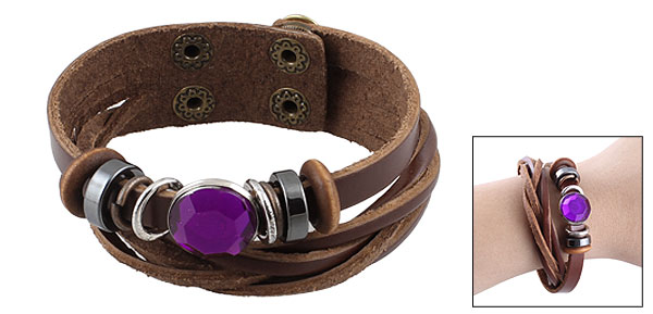 Brown Suede Purple Plastic Crystal Detail Double Button Closure Bracelet
