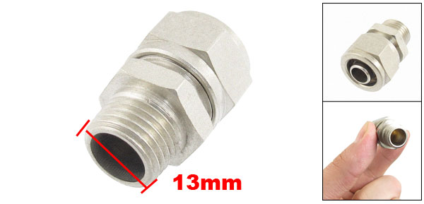 Silver Tone Metal 13mm Male Thread 8mm Hose Quick Joint Connector