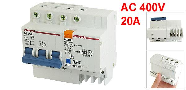 DZ47-63 20A MCB Mini Circuit Breaker w DZ47LE Earth Leakage Circuit Breaker