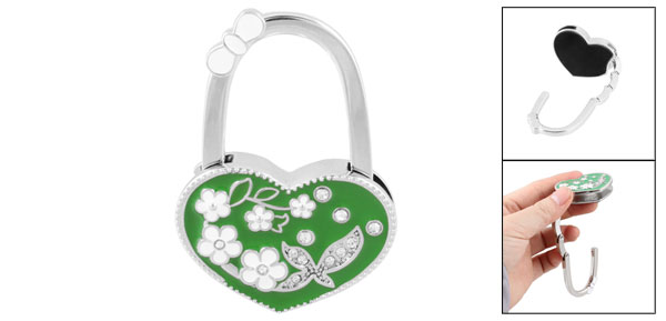 Green Heart Shaped Flower Rhinestones Decor Handbag Foldable Hook