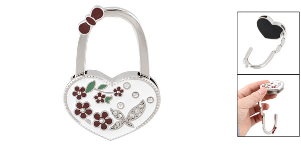 White Heart Shaped Flower Rhinestones Decor Handbag Foldable Hook
