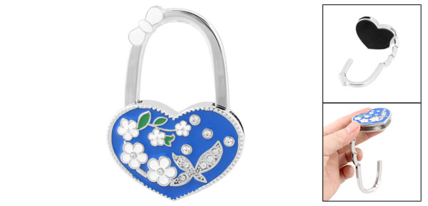 Blue Heart Shaped Flower Rhinestones Decor Handbag Foldable Hook