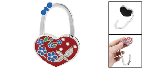 Red Heart Shaped Flower Rhinestones Decor Handbag Foldable Hook