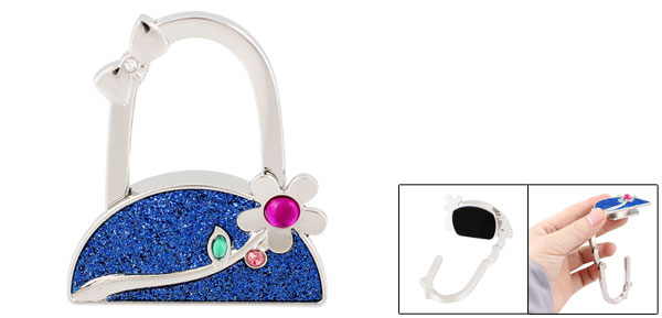 Blue Powder Inlaid Flower Design Handbag Folding Hook Table Holder