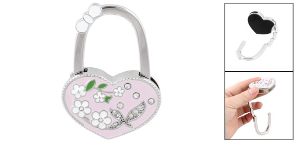 Pink Heart Shaped Flower Rhinestones Decor Handbag Foldable Hook