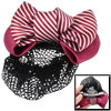 Red White Striped Polyester Double Bowknot Barrette Hair Clip w S...