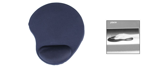 Home Office PC Computer Wrist Rested Soft Rubber Mouse Pad Navy Blue