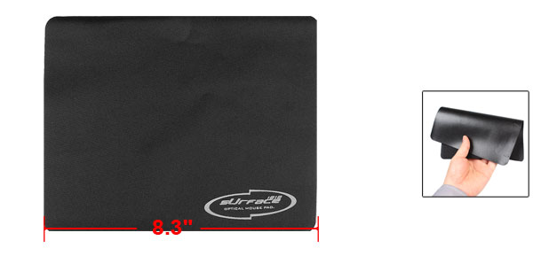 Laptop 21cm x 17.5cm Faux Leather Rectangle Desktop Mouse Pad Mat Black