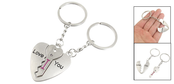 Lovers Couple I LOVE YOU Key Through Heart Keychain Keyring Pair Silver Tone