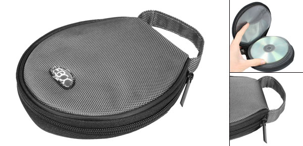 Dark Gray Hand Strap Nylon Zippered 20 Capacity CD Discs Holder Bag