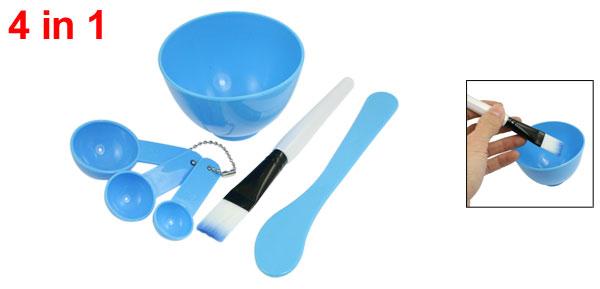 Makeup Plastic Facial Skin Care DIY Mixing Mask Bowl Brush Spoon Blue 4 in 1 Set