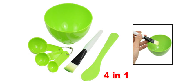 Lady Woman 4 in 1 DIY Facial Mask Mixing Bowl Stick Brush Spoon Tool Green