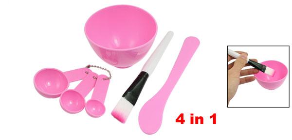 Ladies Plastic Cosmetic DIY Facial Mask Bowl Brush Stick Measuring Spoon Pink 4 in 1