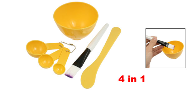 Woman Cosmetic 4 in 1 DIY Facial Mask Bowl Brush Stick Measuring Spoon Yellow