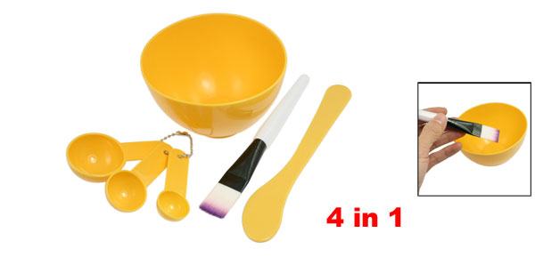 Girls Cosmetic 4 in 1 DIY Facial Mask Bowl Brush Stick Measuring Spoon Yellow